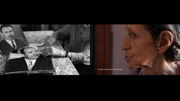 Zineb Sedira (Prémio SAM 2009), 'Gardiennes d'images', 2010, instalação com projecção de três vídeos, cor, som.