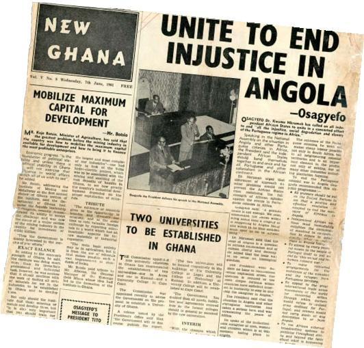 'Uni-vos para pôr fim à injustiça em Angola. Osagyefo' (Título dado a Nkrumah, significando 'Libertador' ou 'Salvador')