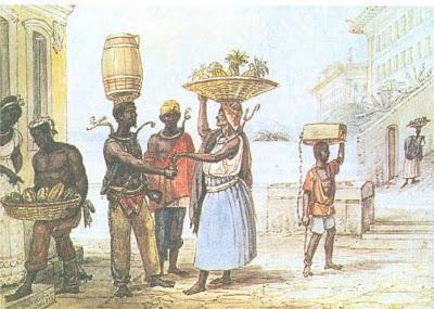 Escravos de ganho nas ruas do Rio, por Debret