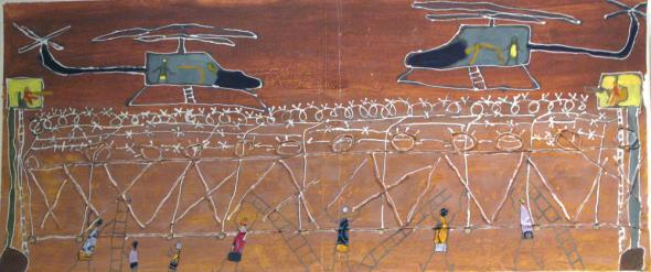 Pintura de Mohamed Sissoko e Samakoun Dembele, 2008. O assalto às cercas, apesar da intervenção dos helicópteros espanhóis.