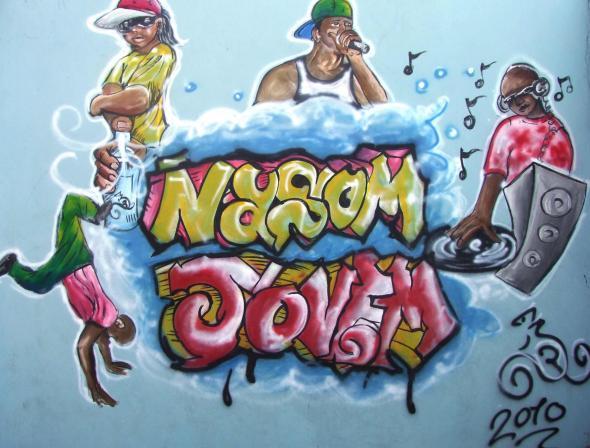Pintura de Dudu Rodrigues no parque 5 de Julho.