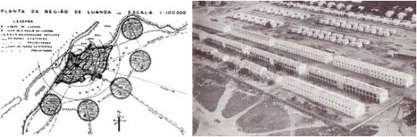 Planta de Luanda e seus satélites, 1942, bairro indígena em Luanda, anos 40 e 50. Fonte, DA FONTE, Manuela, 2007. Urbanismo e Arquitectura em Angola. Lisboa, UTL, p. 181 e 151.