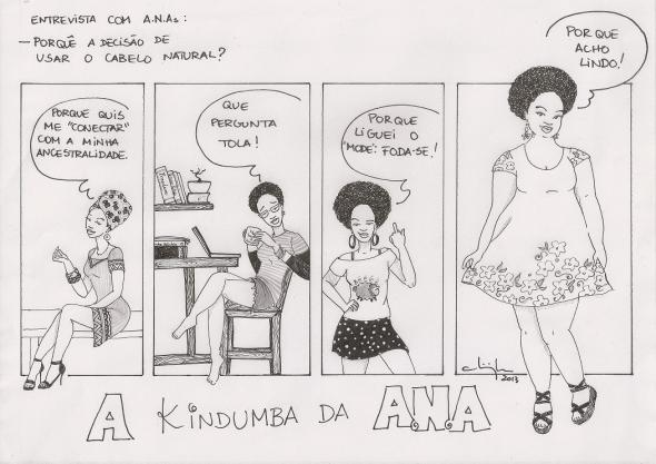 "(1) Why the decision to wear your hair naturally? (2) Ana, dressed in African clothing, says - Because I wanted to ""connect"" with my ancestry. (3) Ana, with glasses, sitting at a desk, with a cup of coffee in hand. She says - What a silly question! (4) Ana in a short skirt, blouse, big earrings, giving the middle finger with a mischievous smile. She says - Because I told ""fashion"" to screw yourself! (5) Ana in a flowered dress and a candid smile. She says - Because I think its beautiful!"