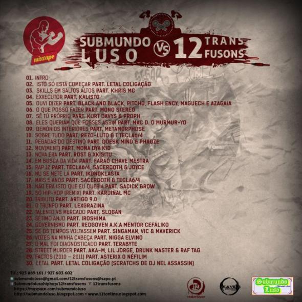 A mixtape Submundo Luso vs 12transfusons foi lançada em primeira mão nos blogues 12tonline.blogspot.com e Submundoluso.blogspot.com, e demais blogues de hip-hop. O projecto não dispõe de qualquer fim lucrativo e é totalmente GRATUITO.