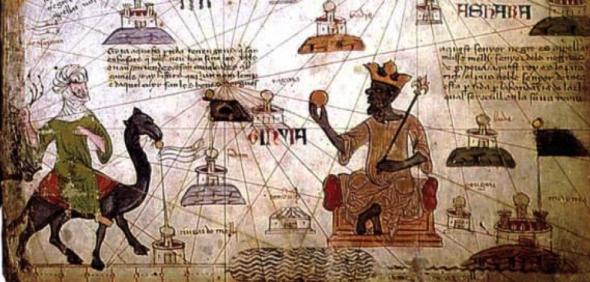 Pormenor do mapa-múndi catalão de 1375, atribuído a Jafuda Cresques e Cresques Abrabam. Biblioteca Nacional de Paris.