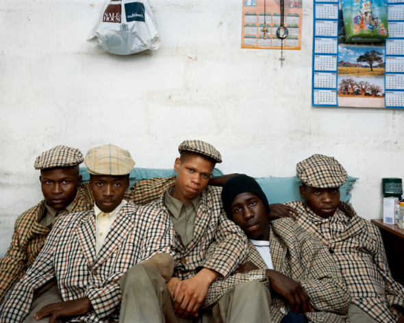 Loyiso Mayga, Wandise Ngcama, Lunga White, Luyanda Mzantsi and Khungsile Mdolo after their initiation ceremony in Mthatha |  Courtesy Stevenson Gallery, Cape Town-Johannesburg/ Yossi Milo Gallery, New York Pieter Hugo