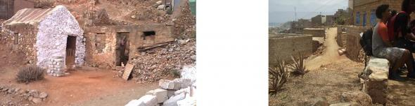 À esquerda Tipologia habitacional de moradores vindos de Santo Antão, Foto Manoel Ribeiro À direita Blocos de betão em muros de suporte, Foto Bruno Oliveira