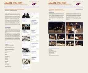 Screenshots of the ACARTE. Timeline 1984-1989, project by Ana Bigotte Vieira.