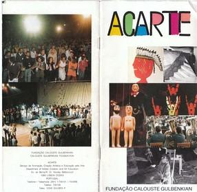 ACARTE 1989, leaflet describing the activity of the department between 1984 and 1989. Courtesy Calouste Gulbenkian Foundation archive