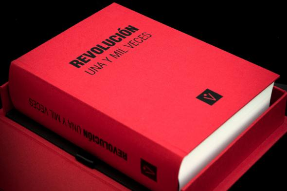 A thousand and One Times Revolution, 2011 Reynier Leyva Novo Book containing the word Revolution, printed 239 940 times on 1000 pages, with the same typography, spacing and interlining. Monument on pages Edition of 5 and 2AP