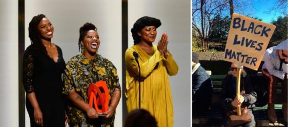 Black Lives Matter, movimento contemporâneo que nasceu como reacção à violência policial contra homens negros, foi criado por Alicia Garza, Opal Tometi e Patrice Cullors. Manifestante em protesto contra a presidência Trump. Fevereiro, Nova Iorque.