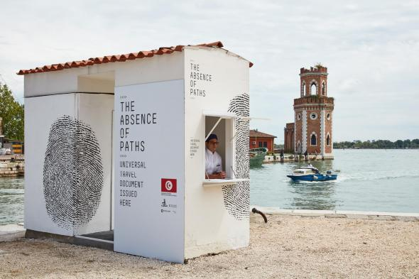 Installation view of the tunisian pavilion, The Absence of Paths, at la Bienalle di Vinezia, photography by Luke Walker