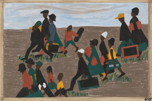 Jacob Lawrence, The Migration Series 1940-41 Panel 40 The migrants arrived in great numbers. Casein tempera on hardboard, 18 × 12