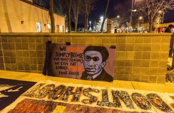 Fanon Banner outside the Minneapolis Police Department fourth precinct following the officer-involved shooting of Jamar Clark on November 15, 2015. Photo Tony Webster