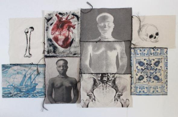 sem título, 2016, impressão sobre tecido, ponta seca e costura 58 x 89,5 cm