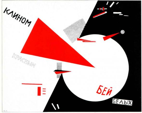Litografia 'Beat the Whites with the red wedge!' de El Lissitzky (1920)