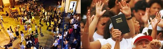 À esquerda vernissage na galeria Gentil Carioca. Foto de Marcelo Mirrela. À direita culto neopentecostal. Foto de Masao Goto Filho.