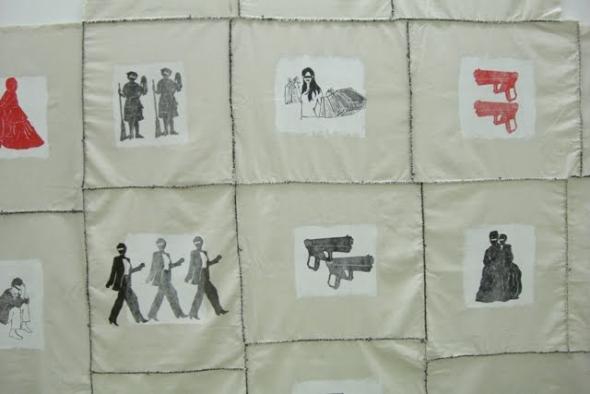 detalhe de Tecido Social, Rosana Paulino (2010), monotipia colorida, linóleo e costura sobre tecido