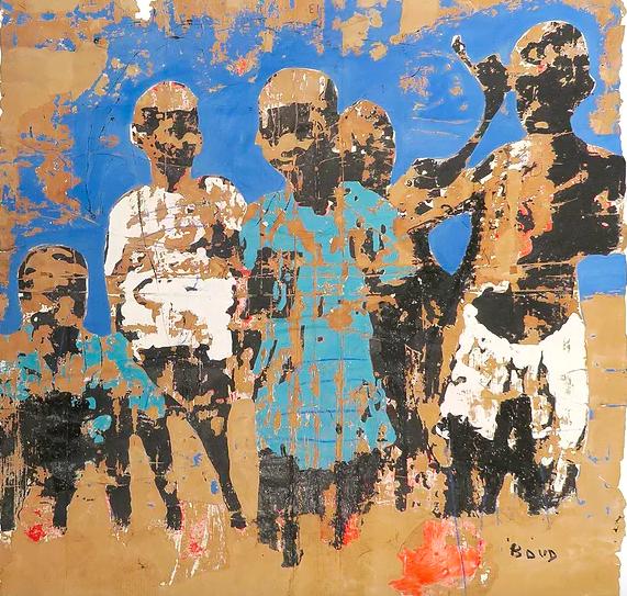 Les Zinzins, 2016, de Armand Boua, óleo sobre papelão