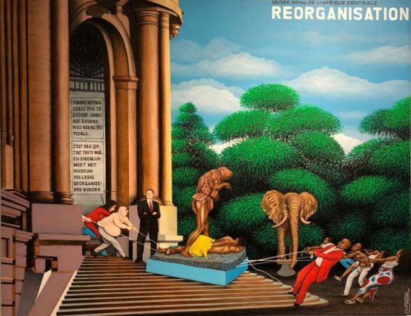 Photo of wall painting Réorganisation, of Chéri Samba (2002), at AfricaMuseum   2018   photo by MEMOIRS