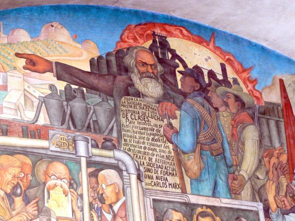 Mural de Diego Rivera sobre a História do México, detalhe que mostra Karl Marx. Palácio Nacional, Cidade do México.