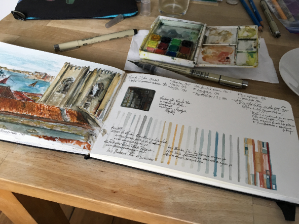 Sketchbook, views from the Aljube, Lisbon (pencil, ink and watercolor drawings) | 2019 | Sharon Lubkemann Allen