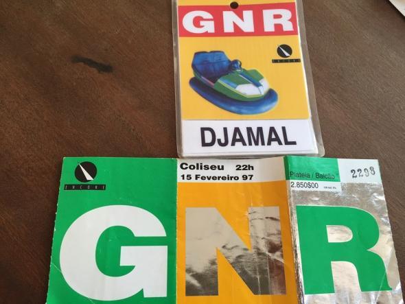 Bilhete para o concerto de Djamal e GNR | 1997 | Coliseu do Porto