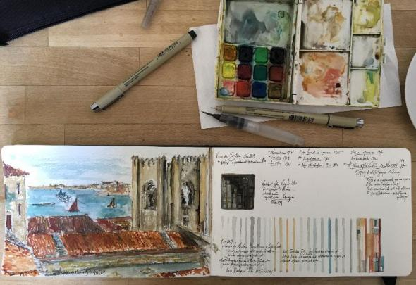 Sketchbook, Views from the Aljube, Lisbon (pencil, ink and watercolor drawings) | 2019 | Sharon Lubkemann Allen (courtesy of the artist)
