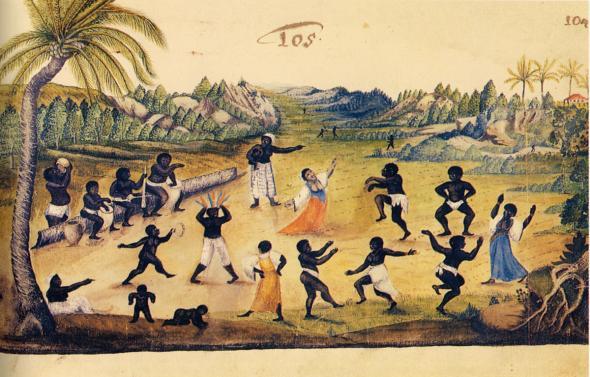 Cerimónia e dança no Brasil, Zacharias Wagenaer, c. 1630.