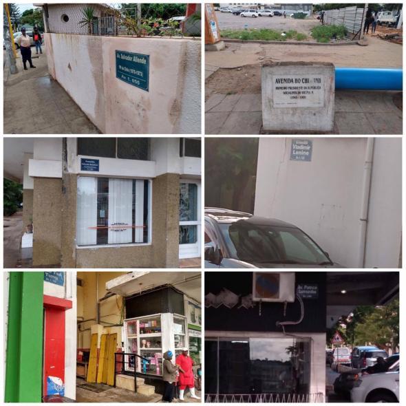 Placas de algumas ruas de Maputo (acervo da autora, novembro de 2019)