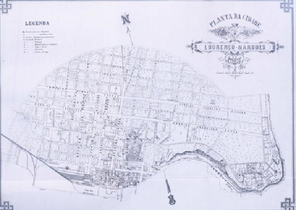 'Lourenço Marques, 1903' O mapa, elaborado em 1903, foi publicado em Carlos Santos Reis, A População de Lourenço Marques em 1894 (um censo inédito) (Lisboa Instituto Nacional de Estatística, Publicações do Centro de Estudos Demográficos, 1973).