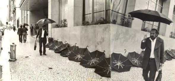 Ernesto de Sousa diante do Tivoli, fotografado por Wolf Vostell
