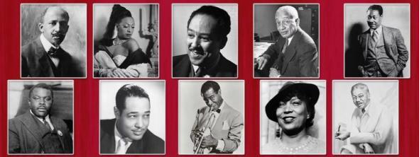 W. E. B. Du Bois, Josephine Baker, Langston Hughes, Alain LeRoy Locke e Claude McKay, Marcus Garvey, Duke Ellington, Louis Armstrong, Zora Neale Hurston e Aaron Douglas