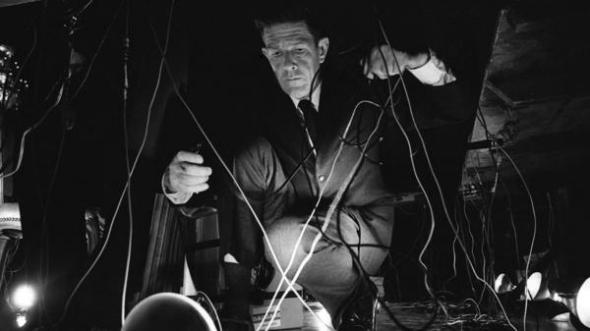 John Cage during his 1966 concert at the opening of the National Arts Foundation in Washington, D.C.