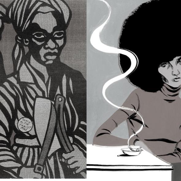 a mulher negra escravizada nos EUA e Ângela Davis, montagem