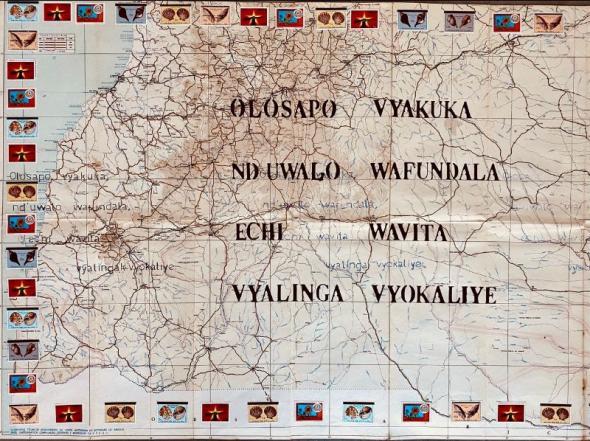 Olosapo, vyakuka, nd'uwala wafundala, echi wavita vyalinga vyokaliye. Umbundu. (mapa rodoviário de Angola 1967 e selos angolanos, cortesia da artista e escritora)