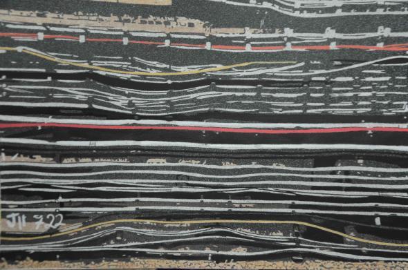 'Whitechapel lines', acrylic on paper, Ihosvanny (2019)