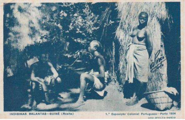 Postal fotográfico da 1º Exposição Colonial Portuguesa. 'Indígenas balantas – Guiné (Rosita)'. Coleção Particular