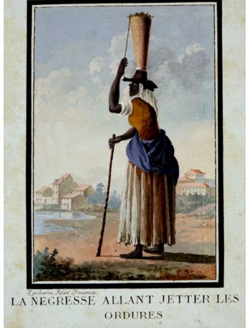 Uma calhandreira africana, figura que assegurava a recolha dos detritos das casas urbanas portuguesas