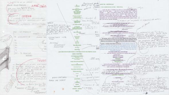 Figs. 11-13 − Composição digital de documentos criados durante três fases do processo de escrita de A Terceira Metade.