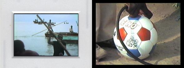 Fig. 21− Dois fotogramas de Introdução a Videocarta ao meu Irmão Antoninho, realizado para a exposição UDZC. Apresentando todos os videogramas que Carvalho tornou slides com um enquadramento simulando o dito slide (esq.), no vídeo uso um enquadramento diferente para uma cena da qual existem duas versões no material rodado, e da qual não é possível aceder ao respectivo fotograma usado por Carvalho (dir.). A localização dos fotogramas no material rodado permitiu sonorizá-los.