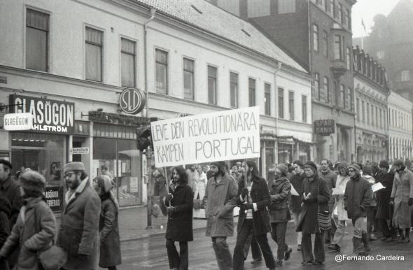 Manifestação de protesto contra o assassinato de Amílcar Cabral. Lund, Suécia, Janeiro de 1973