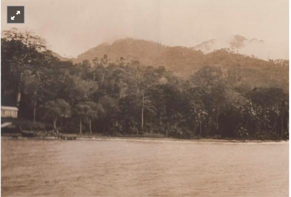 A costa da ilha de São Tomé vista desde o Paquete Malange. Fotografia de William Cadbury Arquivo de História Social (ICS)