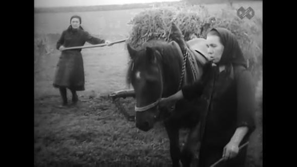 Zorka Radojčić, à direita, reconhecida no documentário 'Drežnica' de Slavko Goldstein, 1964. Zorka foi uma das mulheres que esteve refugiada na gruta de Drežničko polje durante a guerra.