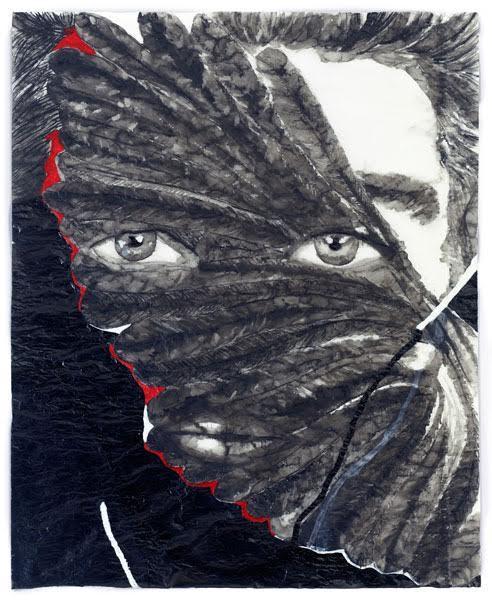Adriana Molder, Cara Assombrada V, 2012, tinta-da-China e acrílico sobre papel esquisso, 280 x 200 cm