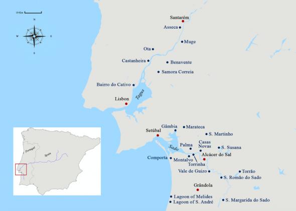 Mapa dos rios Sado e Tejo com identificação dos lugares referidos no texto. As cidades principais estão assinaladas por um ponto vermelho. Mapa elaborado por Catarina Leal.
