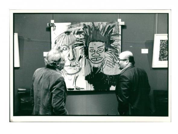 Jean-Michel Basquiat, Andy Warhol. Jean Michel Basquiat's 'DOS CABEZAS' 1982, Original Press Photo. 1988, Sotheby's New York, 1988. VINCE fine arts/ephemera