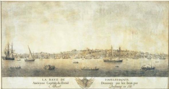 Vista de Salvador da Baía a partir do Forte de São Marcelo, numa gravura de Albert Dufourcq, de 1782 INSTITUTO GEOGRÁFICO E HISTÓRICO DA BAHIA