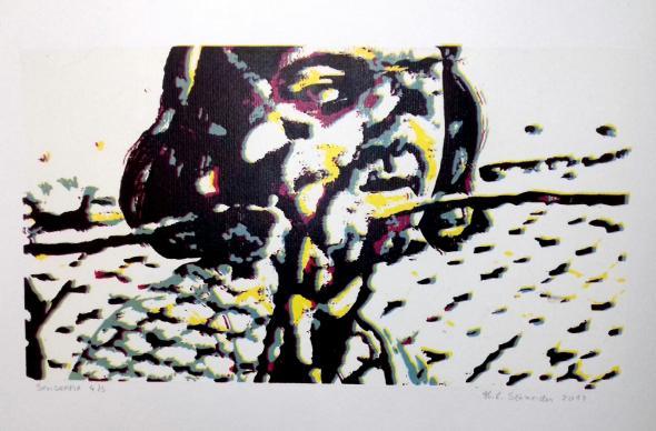 Serigrafia feita pela artista plástica Hélvia Schneider