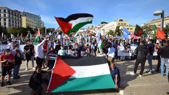 manifestação em Lisboa em solidariedade com a Palestina, maio de 2021